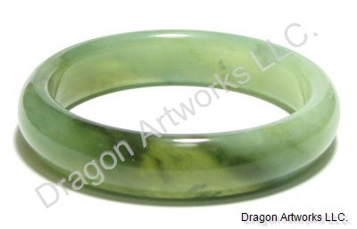 Graceful Mixed Green Jade Bangle Bracelet